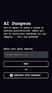 screenshot of AI Dungeon version 1.1.17