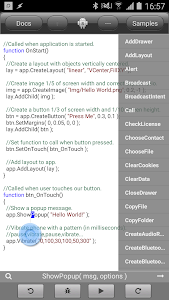 screenshot of DroidScript - JavaScript Mobile Coding IDE version 1.80