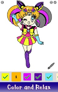 screenshot of Anime Glitter Color by Number: Adult Coloring Book version 2.1