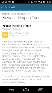 screenshot of BBC Weather version 2.0.5