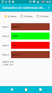 screenshot of Resistance calculator and LED Ω version 3.0.2