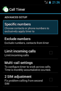 screenshot of Call-Timer version Varies with device