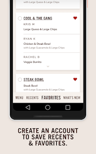 screenshot of Chipotle version 6.4.0