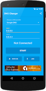screenshot of DNS Changer (no root 3G/WiFi) version 1.0.15
