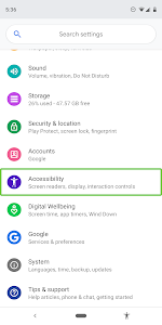 screenshot of Android Accessibility Suite version Varies with device