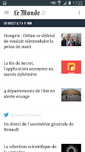 screenshot of Le Monde, l'info en continu version 6.5.5