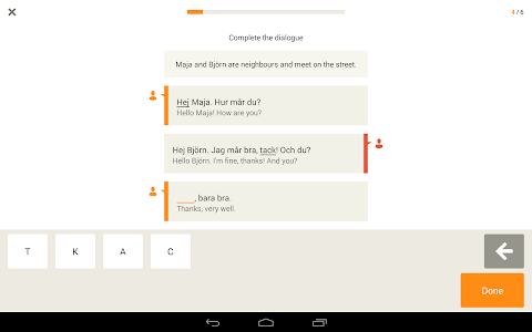 screenshot of Learn Swedish with Babbel version 5.6.8.051908