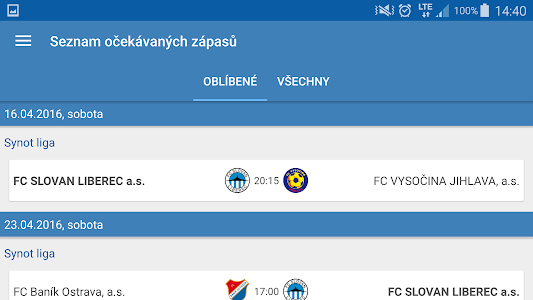 screenshot of Můj fotbal version 1.0.26