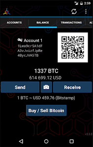 screenshot of Mycelium Bitcoin Wallet version 2.8.6
