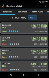 screenshot of Mycelium Bitcoin Wallet version 2.9.4