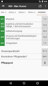 screenshot of NBI Pflegegradrechner version 1.6.13