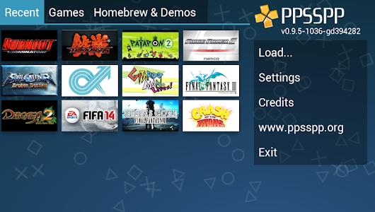 screenshot of PPSSPP Gold - PSP emulator version 1.2.1.0