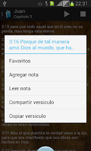screenshot of Santa Biblia Reina Valera 1960 version 11.2