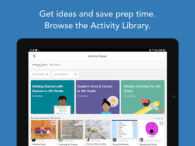 screenshot of Seesaw: The Learning Journal version 6.2.3