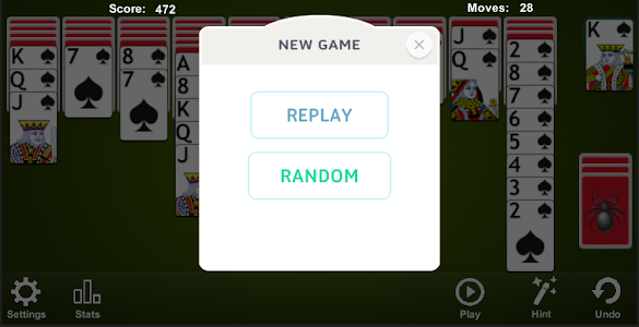 screenshot of Spider Solitaire version 4.6.1.1