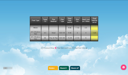 screenshot of HVAC Pipe Calculator version 1.52